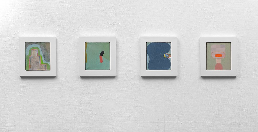 "4 small paintings installed, oil on canvas, each 8""x 6"", 2011."