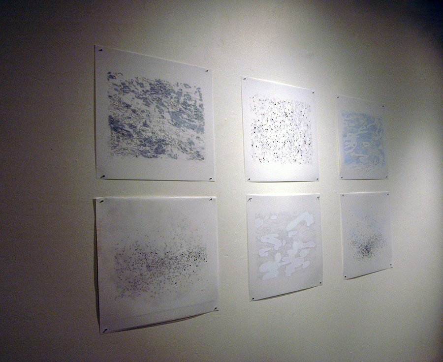 "Apophenia drawing series, ink, vinyl, goauche on 4 sheets of duralar, each 22"" x 30"", 2010-11"