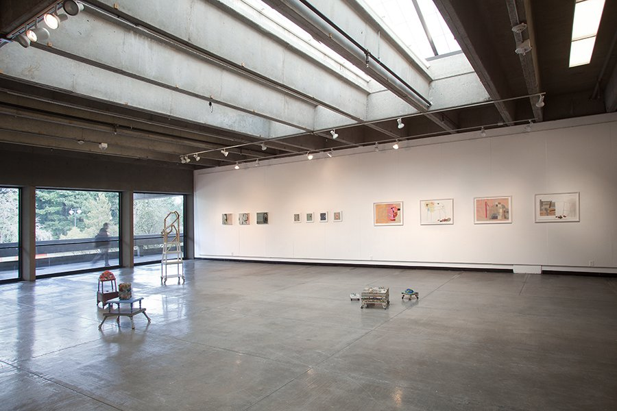 "Installation of ""Occupied: Small paintings and works on paper"", Northridge Gallery, Portland Community College, 2011"
