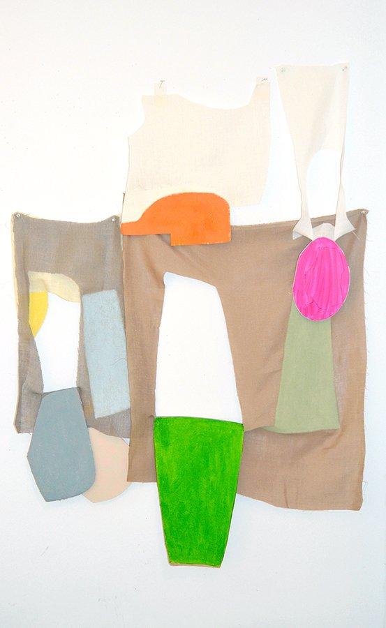 "Propadjust, goauche, rag paper, linen, tacks, 38"" x 30"" installed size, 2016."