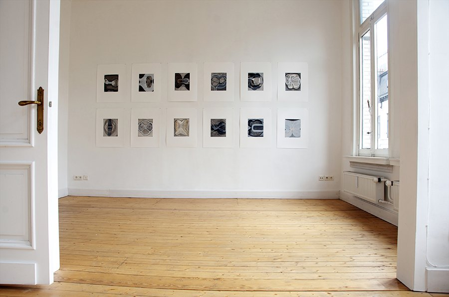 Touch Species: Installation of 12 drawings from series, Workplace Gallery, Antwerp, 2014.