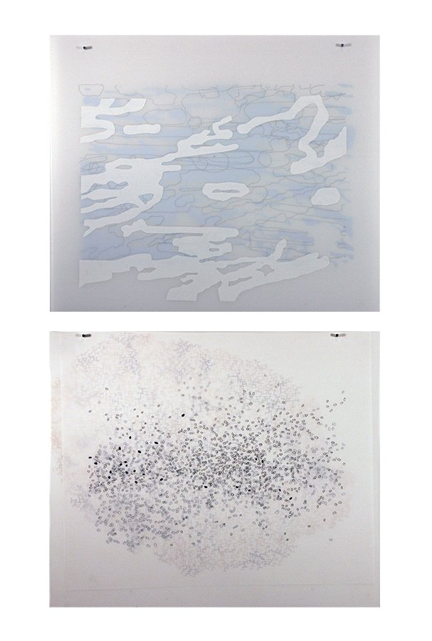 "Apophenia drawing series, ink, vinyl, goauche on 3 sheets of duralar, each 22"" x 30"", 2010-11"