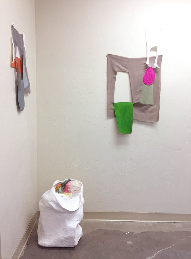 Propadjusts installed at CEI Artworks, gouache on rag paper on linen, plaster sculpture, 2017.