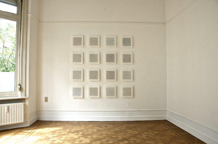 "Meditation Series, 72"" x 72"", ink, gouache, on mylar, Installed Work Place Gallery, Antwerp, Belgium, 2014."
