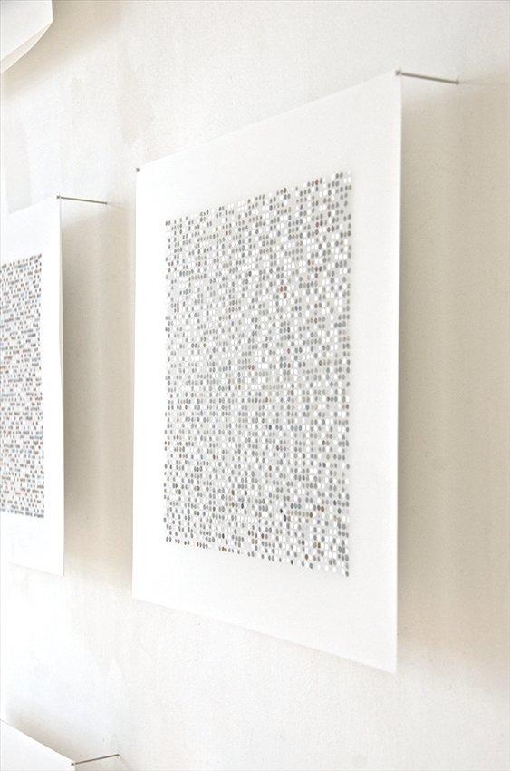 "Meditation Series (detail), 72"" x 72"", ink, gouache, on mylar, Installed Work Place Gallery, Antwerp, Belgium, 2014."