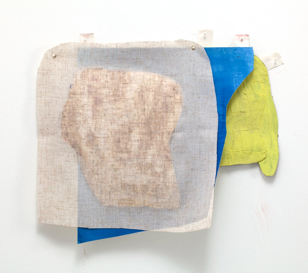 Prop 6, goauche, rag paper, linen, collage, linen tape, map tacks,  2015.