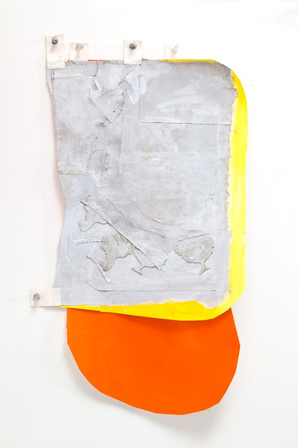 Prop 7, goauche, rag paper, linen, collage, linen tape, map tacks,  2015