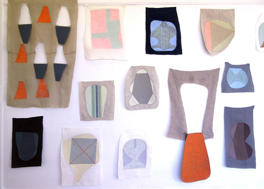 Props Installation at CEI ArtWorks. Goauche on collaged paper on linen. Sizes variable, 2017.