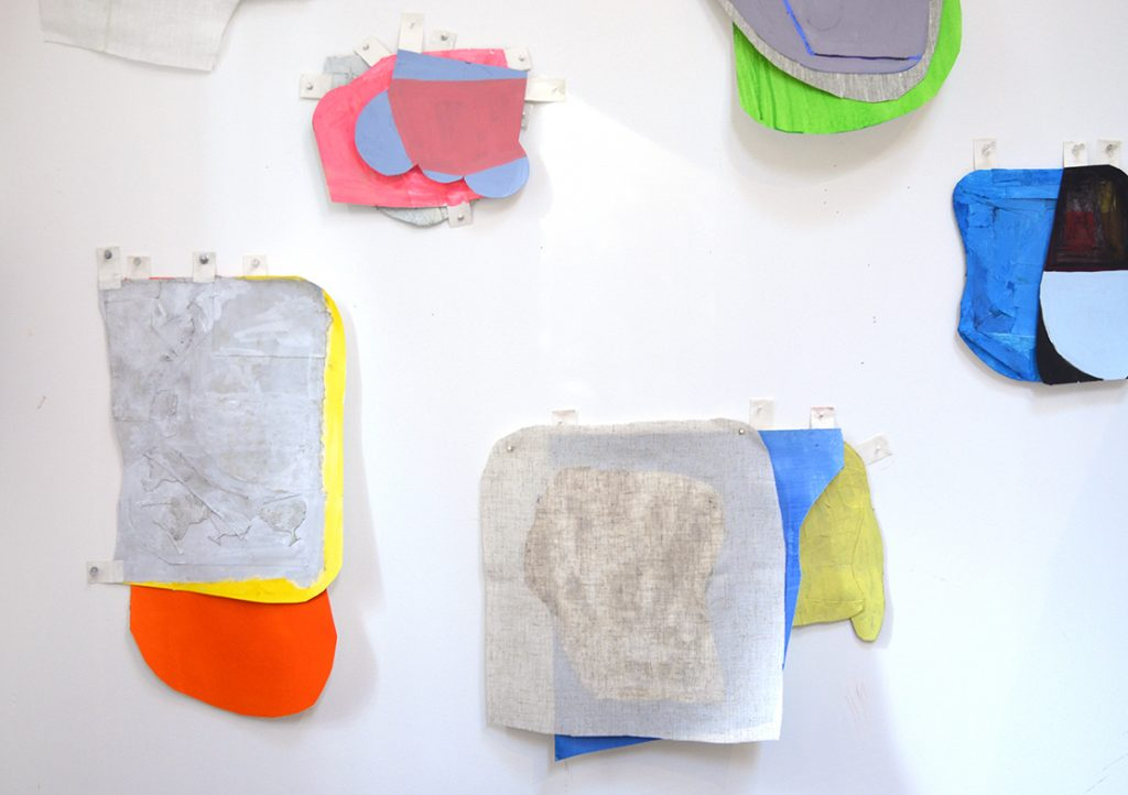 Props and Propositions in studio, goauche on collaged paper, linen, linen tape, tacks. size variable, 2015.
