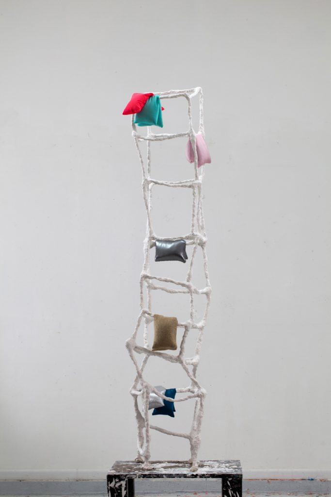 "Shouldup, metal, plaster, fabric, buckwheat hulls, 76""x 20"" x20"", 2015"