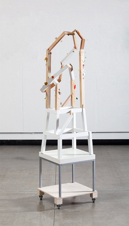 "Color frame, wood, found furniture, acrylic paint, pins, 5'8""x 14"" x 14"", 2011"