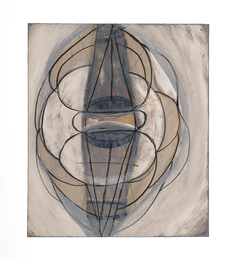 """Drawing 3 from Touch Species series, ink, graphite, gouache, colored pencil on yupo paper, 20"""" x 15"""", 2014"""
