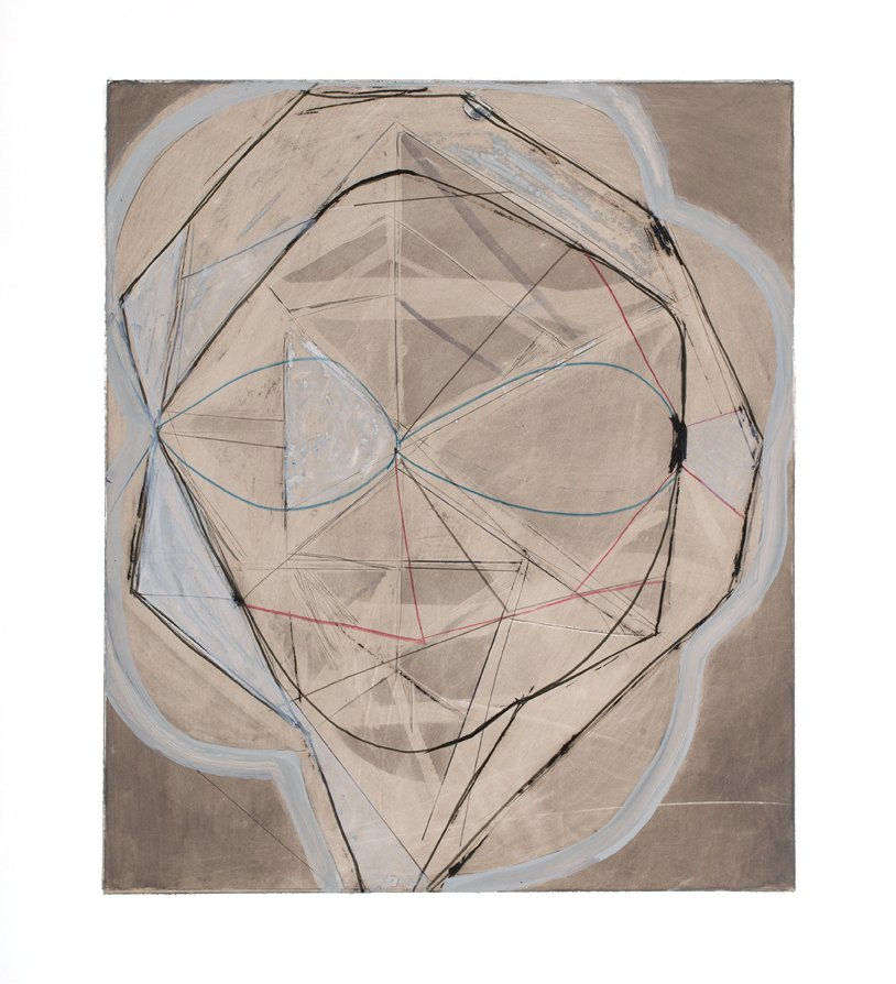 """Drawing 4 from Touch Species series, ink, graphite, gouache, colored pencil on yupo paper, 20"""" x 15"""", 2014"""