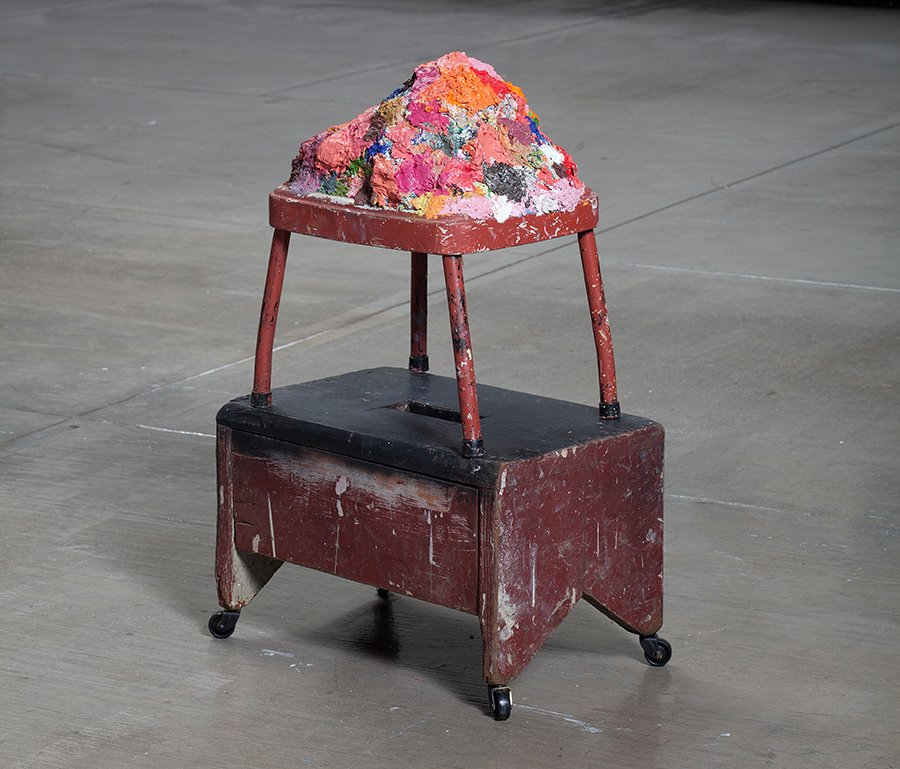 "supplement from ""occupied"", oil paint on found stools, 18"" x 11"" x 14"", 2011."