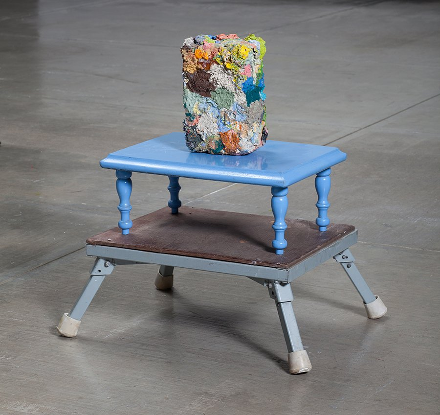 """supplement 2 from """"occupied"""", oil paint on wood on found stools, 18"""" x 11"""" x 14"""", 2011."""
