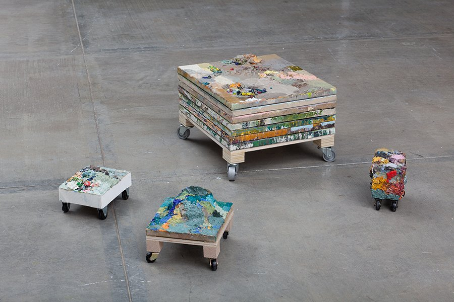 supplements on wheels, oil paint on canvas, wood, variable sizes, 2011