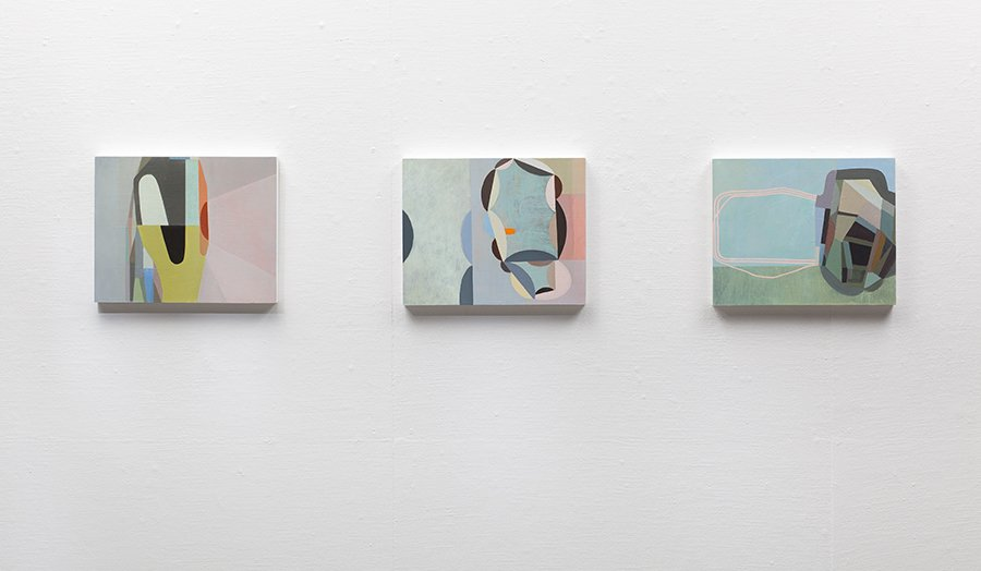 "Three paintings installed, each 16"" x 20"", 2011"