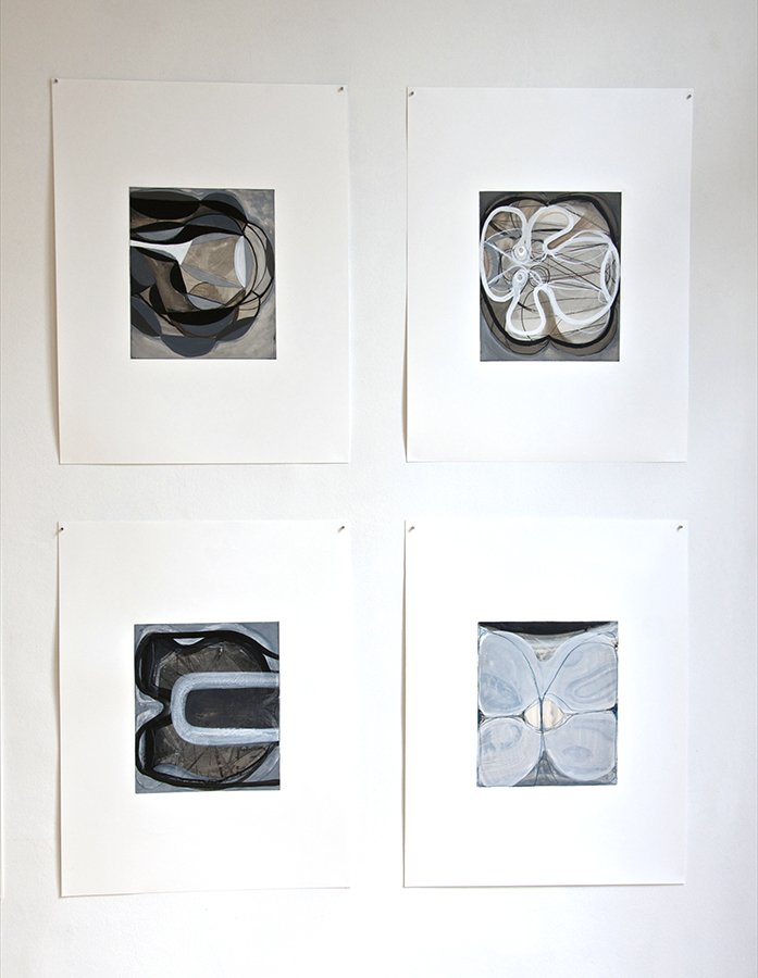 Touch Species: (Detail) Installation of 12 drawings from series, Workplace Gallery, Antwerp, 2014.