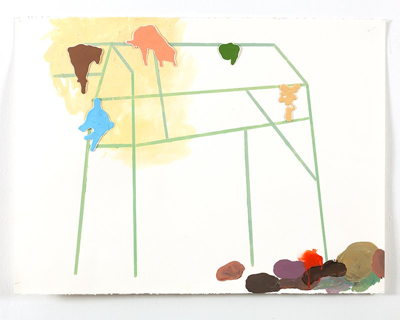 "Drawing 1, Color Structures Series, acrylic, goauche on paper, 30"" x 40"", 2011"